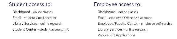Student access to: Blackboard, Email, Library Services, Student Center; Employee Access to: Blackboard, Email, Employee/Faculty Center, Library Services, PeopleSoft Applications